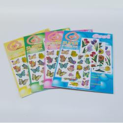 Butterfly & Flower Sticker Set- Color Metallic Stickers-  Approx 75 Stickers Per Card