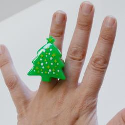 Flashing Christmas Tree Ring- 2 Inch- 2 Dozen Display Box