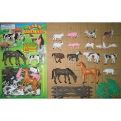 Carded Farm Animal Assortment- 20 Pieces on Blister Card