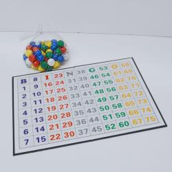Raffle or Bingo Balls in heavy canvas bag and 75 number control masterboard
