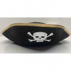 Tri Corner Pirate Hat- Hard Black Felt w/Gold Trim