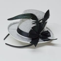 Mini Silver Top Hat on Headband w/Ribbon and Feather