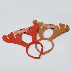 Felt Reindeer Antlers w/Bells- 2 Asst Colors