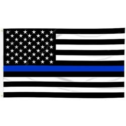 3X5 Thin Blue Line Flag- Black and White w/One Blue Line