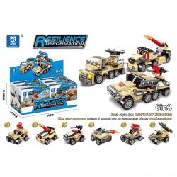 Block Assembly Military Vehilces- Pull Back- 6 Piece Display Box- Desert Camo