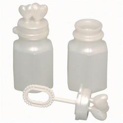 Wedding Bubbles- Heart- 0.5 Ounce- White Pearlized- 2 Dozen Display Box