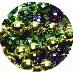 Round 7mm Bulk Mardi Gras Beads- 33 Inches Long- Mirror Ball Cut