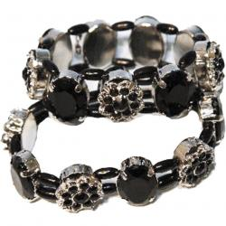 Floral Bracelet- Silver and Stone Material- Elastic- 3 Doz Dsp Box
