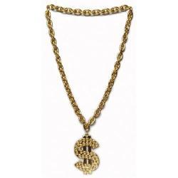 Dollar Sign Gold Chain- 30 Inch Length w/2.5 Inch Dollar Sign