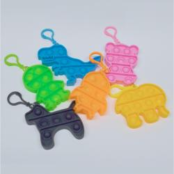 Animal Shaped Fidget Bubble Popper w/Clip- 2 Doz Dsp Box- Asst Styles and Colors