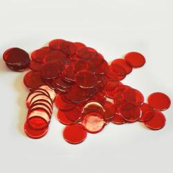 Red    Plastic Chips- 100 Count Bag