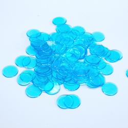 Light Blue Plastic Chips- 100 Count Bag