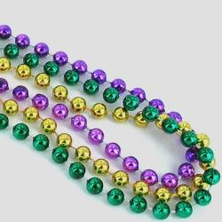 Round 7mm Mardi Gras Beads 33 Inch- Gold, Green and Purple