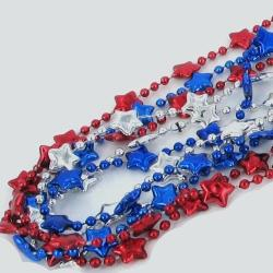 Star Bead Red/ Blue/ Silver 33 Inch