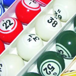 Bingo Ball- 5 Solid Color Double Number with Black number on White Background