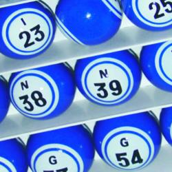 Bingo Ball- Solid Blue Double Number