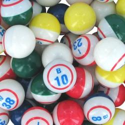 Bingo Ball- Deluxe Single Number Inside Print 5 Color 38mm diameter