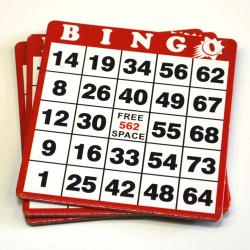 Red Bingo Hard Cards- Box of 100 / 1-9000 Series No duplicates.