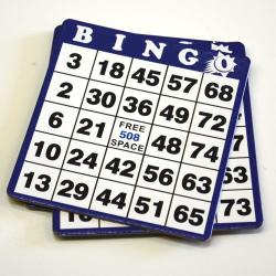 Blue Bingo Hard Cards- Box of 100 / 1-9000 Series No duplicates.