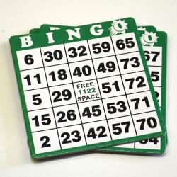 Green Bingo Hard Cards- Box of 100 / 1-9000 Series No duplicates.