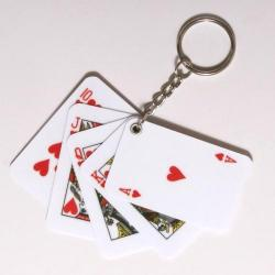 Royal Flush Play Card Keychain 1.5X3Inch