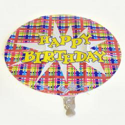 Mylar Balloon- Birthday Plaid
