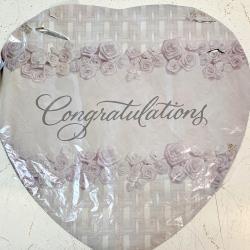 Mylar Balloon- Congrats silver w/roses