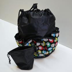 Drawstring Bingo Ball Print Bag- Round W/ 10 Pocket BLACK