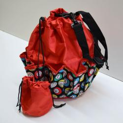 Drawstring Bingo Ball Print Bag- Round W/ 10 Pocket RED