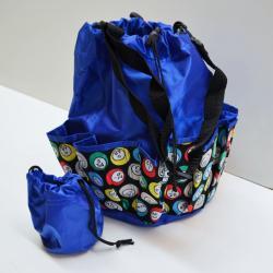 Drawstring Bingo Ball Print Bag- Round W/ 10 Pocket BLUE