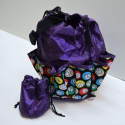 Drawstring Bingo Ball Print Bag- Round W/ 10 Pocket PURPLE