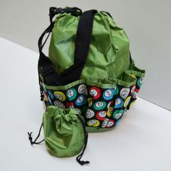 Drawstring Bingo Ball Print Bag- Round W/ 10 Pocket GREEN