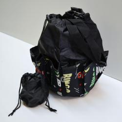 Drawstring Bingo Space Ball Print Bag- Round W/ 10 Pocket BLACK