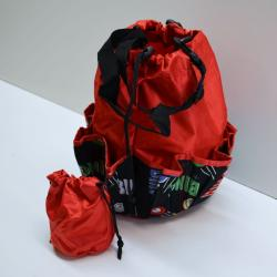 Drawstring Bingo Space Ball Print Bag- Round W/ 10 Pocket RED