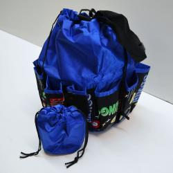Drawstring Bingo Space Ball Print Bag- Round W/ 10 Pocket BLUE