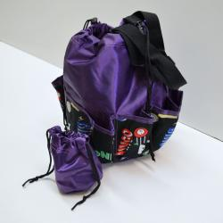 Drawstring Bingo Space Ball Print Bag- Round W/ 10 Pocket PURPLE