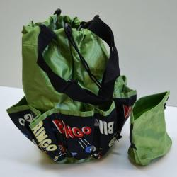 Drawstring Bingo Space Ball Print Bag- Round W/ 10 Pocket GREEN