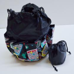 Drawstring Lucky Bingo Print Bag- Round W/ 10 Pocket BLACK