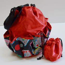 Drawstring Lucky Bingo Print Bag- Round W/ 10 Pocket RED