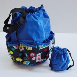 Drawstring Lucky Bingo Print Bag- Round W/ 10 Pocket BLUE