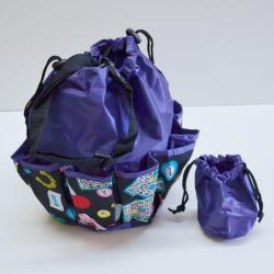 Drawstring Lucky Bingo Print Bag- Round W/ 10 Pocket PURPLE