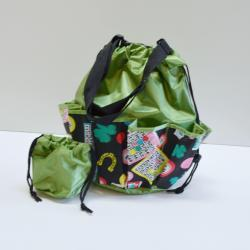 Drawstring Lucky Bingo Print Bag- Round W/ 10 Pocket GREEN
