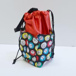 Small Drawstring Bingo Ball Print Bag- Round w/ 6  Pockets RED