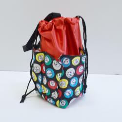 Small Drawstring Bingo Ball Print Bag- Round w/ 6  Pockets RED