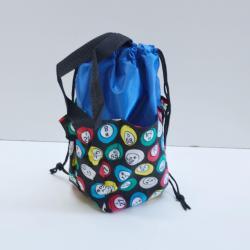Small Drawstring Bingo Ball Print Bag- Round w/ 6  Pockets BLUE