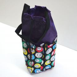 Small Drawstring Bingo Ball Print Bag- Round w/ 6  Pockets PURPLE