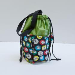 Small Drawstring Bingo Ball Print Bag- Round w/ 6  Pockets GREEN
