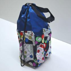 Small Drawstring Bingo Card Print Bag- Round w/ 6  Pocket BLUE
