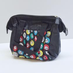 Bingo Bag Black Bingo Ball Print Square  W/ Zipper 6 Pocket