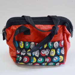 Bingo Bag Red Bingo Ball Print Square  W/ Zipper 6 Pocket